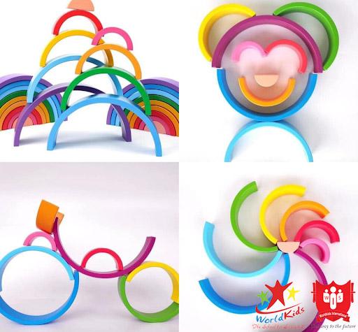 đồ chơi montessor xếp hình cầu vồng